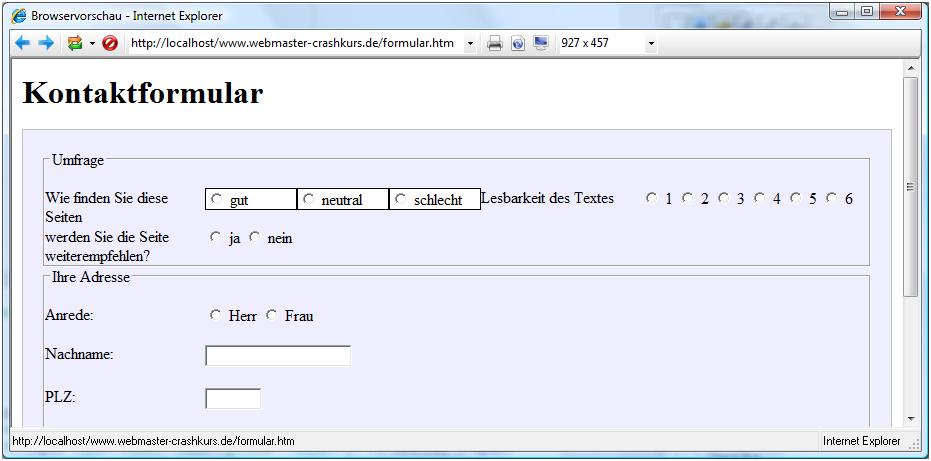 Formulare über CSS gestalten
